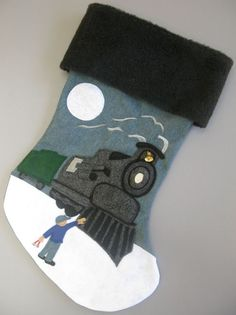 Handmade Felt Christmas Stocking Dance Like by heartfeltstockings make as Thomas the train