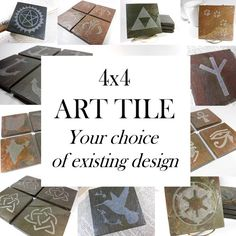 Custom ART TILE - Personalized with Your Choice of Existing Design - Hand Carved Natural Slate Stone, Art Coaster, Custom Personalized Gift Coaster Art, Coaster Design, Wiccan Symbols, Slate Coasters, Personalized Coasters, Tile Art, Custom Art, Carving, Handmade Gifts