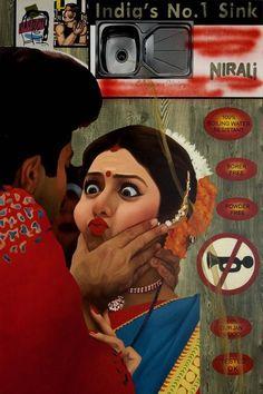 Indian Art  Atul Dodiya, Devi and the Sink, 2004