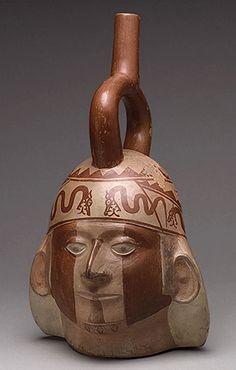 Portrait Head Bottle, 5th–6th century  Peru; Moche Ceramic