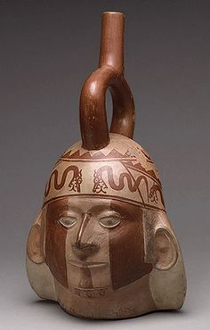 Portrait Head Bottle, 5th–6th century  Peru; Moche Ceramic