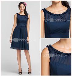 Knee-length Chiffon Bridesmaid Dress - Dark Navy / Royal Blue / Ruby / Champagne / Grape Plus Sizes / Petite Sheath/Column Scoop 2015 – $79.99