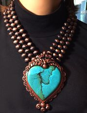 """Our Beautiful, Heart Shaped Centerpiece of Handpainted Faux Turquoise and set in Copper Resin. This Three-Strand, Copper Resin Beads, is 19"""" with a 4"""" extender chain. www.maverickrose.com"""