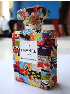 Beautiful objet d'art ....would LOVE this beautiful Chanel bottle - covered with kimono silk patchwork