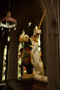 Statue of a unicorn, bearing the town coat of arms, in the Parish Church of St Mary the Virgin, Lace Market, Nottingham, UK.