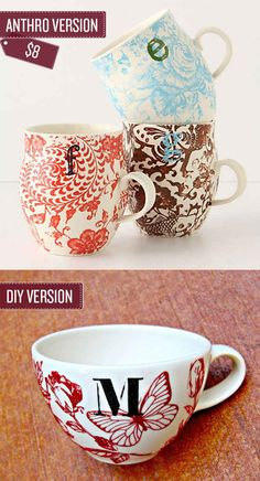 "Paint your own monagram mugs. Marth Stewart glass paint and ""silk screen"" adhering stencils@craft stores"
