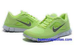 free shipping 0d521 7efb0 Mujer Nike Free Run 3 Zapatillas (color   empeine y en el interior - verde  , logotipo - gris   sole - blanco)