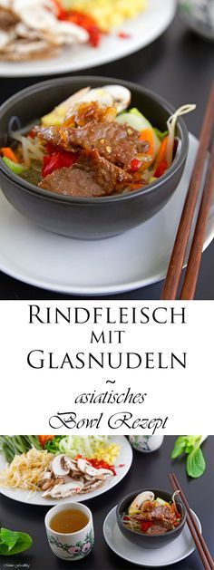 Rindfleisch mit Glasnudeln, so simpel, schnell und mega lecker. Es ist ein leckeres asiatisches Bowl Rezept mit viel frischem Gemüse und würziger Marinade.