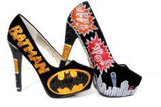 Batman Heels with Swarovski Crystals and Glitter