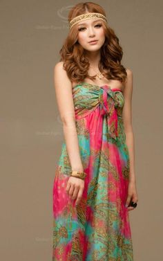Tie Front Bohemian Maxi Dress by Bohemania on Etsy, $55.00