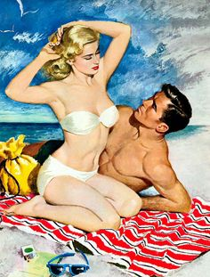 Cozying up for a summertime fling... #vintage #couple #beach #ocean #summer #woman #man #bikini