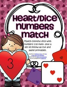 A Valentine's Day number center for early learners. Match sets of colorful dice with number mats 1-10 – plus 6 follow-up cut and paste printables. Practice and develop the skills of number recognition, counting, matching, cutting and pasting, as well as observing and noting the set arrays of dots on the dice. 25 pages