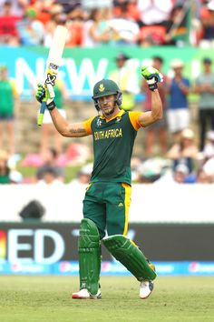 Faf du Plessis of South Africa celebrates his century during the 2015 ICC Cricket World Cup match between South Africa and Ireland at Manuka Oval on March 2015 in Canberra, Australia. Cricket Poster, Icc Cricket, Cricket Sport, Cricket Quotes, Tennis Gear, Tennis Tips, Dhoni Wallpapers, Cricket Wallpapers, Ab De Villiers