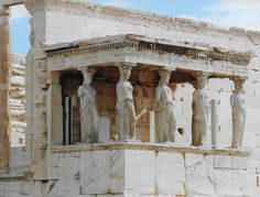 Caryatids supporting the roof of the Erechtheum's Porch of the Maidens. Athens, Greece August 2015