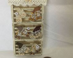 DollHouse 1:12 scale Miniature Ladies Shop Filled Cream & Brown leather lace glove wall Display Unit