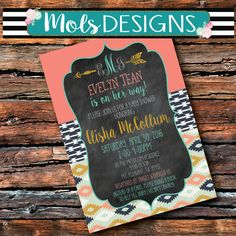 Any Color AZTEC TRIBAL ARROWS  Baby Shower Sprinkle Peach Mint Coral Gold Navy Wedding Bridal 21 1 Girl Birthday Bachelorette Invitation