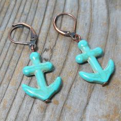 Anchor Earrings  turquoise blue howlite stone  by MySoulCanDance