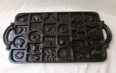Vintage CAST IRON Cookie MOLD Baking Pan