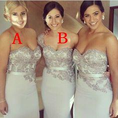 Norma Bridal Couture Gray Bridesmaid Dresses Satin Sexy Lace Appliques Mermaid Silver Brides maid Dresses 2014