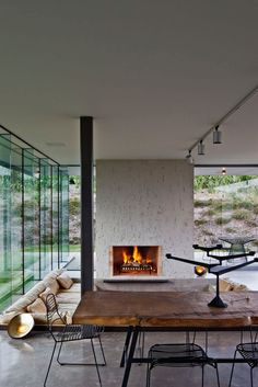 Modern Fireplace In Living Room Of Contemporary Villa