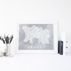 Grey Watercolour Typography Map