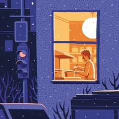 Jon McNaught's illustrations inspire a feeling of intruding on someone's privacy. So interesting.