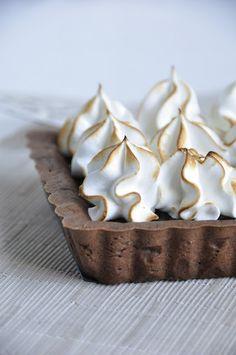 ... chocolate caramel hazelnut tart with toasted meringue ...