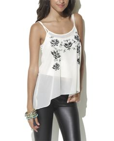 Embroidered High Low Tank - Shirts & Blouses