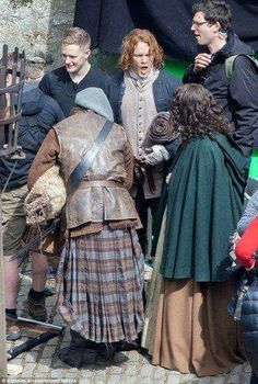 "Looks like someone is a little tired...  Sam Heughan, Caitriona Balfe and Duncan Lacroix ~ filming #Outlander ""Dragonfly in Amber"" season 2"