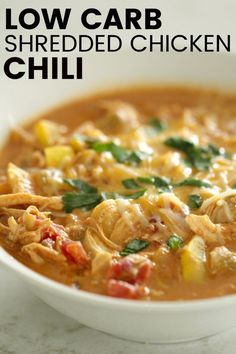 10 Most Misleading Foods That We Imagined Were Being Nutritious! Low Carb Shredded Chicken Chili - Easy, Healthy, Macro-Friendly, And So Delicious Leftover Chicken Recipes, Low Carb Chicken Recipes, Healthy Low Carb Recipes, Low Carb Dinner Recipes, Healthy Rotisserie Chicken Recipes, Keto Chicken, Roasted Chicken, Low Carb Chicken Soup, Keto Recipes