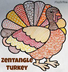 Zentangle Turkeys - Play Dr Mom
