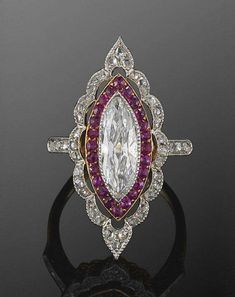 Beautiful art deco ring whit diamond and ruby