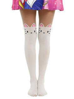 LOVEsick Cat Tail Faux Thigh High Tights, BLACK