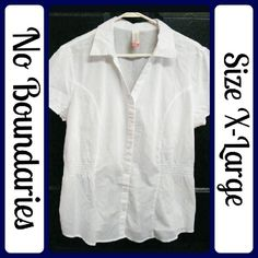 "New Sz XL White Button Up Excellent Top by No Boundaries in a size XL (15/17)     100% Cotton    It is very soft and flowy. Never Worn.    MEASUREMENTS:     (taken flat)     LENGTH: 25""    BUST: 23""    SLEEVE: 7.5""     From a clean, smoke-free home     No rips, tears,or stains, or weird smells  (T108) No Boundaries Tops Blouses"