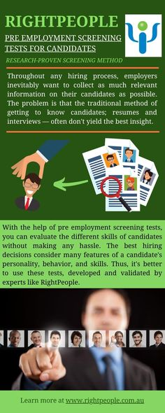 With the help of pre employment screening tests, you can evaluate the different skills of candidates without making any hassle.  Thus, it's better to use these tests, developed and validated by experts like RightPeople.  #candidate #employee #skill #tests #online #best #business #services