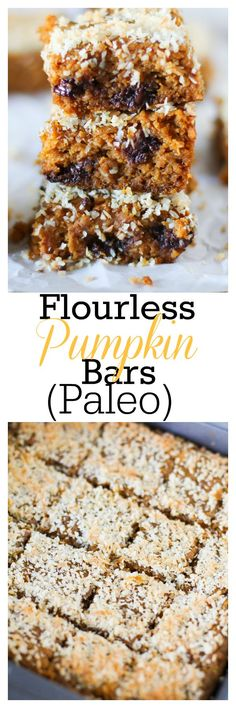 Healthy Flourless Pumpkin Bars with almond butter. Protein-packed, gluten-free, and refined sugar-free | TheRoastedRoot.net
