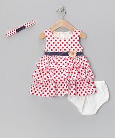 White & Red Polka Dot Floral Ruffle Dress Set - Infant