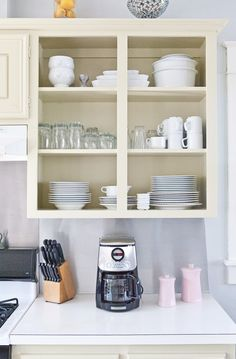 open kitchen cabinet . Would be perfect for the oversized cabinet above dishwasher