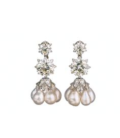 Viren Bhagat. Diamond cluster & pearl earrings...♡