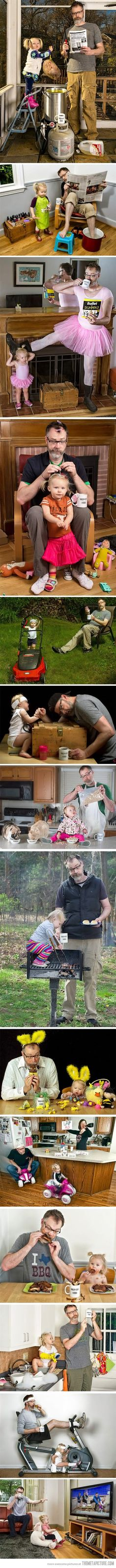 I love this dad's creativity and the fact that his wife is in the military. Imagine being deployed and getting some of these pictures. Instant joy! World's Best Father mug in all of them... as it should be