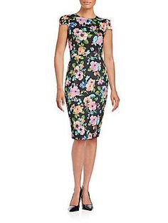 Betsey Johnson Floral Print Sheath Dress - Black  - Size