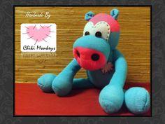 Handmade sock hippo: Steven  The original 100% by ChikiMonkeys
