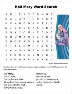Hail Mary Word Search Printable