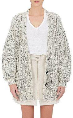 e1e2d54322 Isabel Marant s Favian cardigan is English rib-knit from an ecru and black  mélange wool-alpaca blend. V-neck. Patch side pockets. Rib-knit cuffs and  bottom.