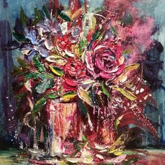 """Palette Knife Painting on Canas ~Floral 16 x16"""" www.nicoleslater.com"""