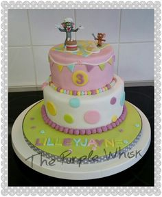 Two tier Tom & Jerry chocolate cake, for a little girl. Www.thepurplewhisk.co.uk