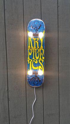 Skateboard Lamp with Kryptonics Graphic by MetalWoodByJennifer on Etsy