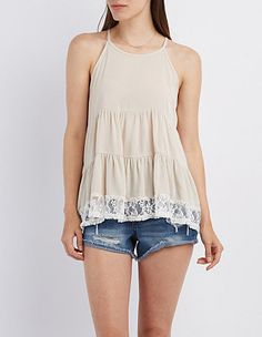 Lace-Trim Sleeveless Top: Charlotte Russe
