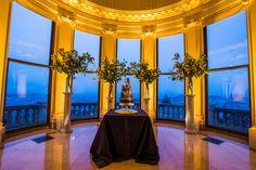 Flood Mansion San Francisco Wedding of Scott Fairbanks and Max Vargas. Lighting Design by Got Light. Yellow Glow. Chocolate Wedding Cake. Irja Elisa Photography.