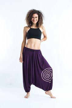Drawstring Low Cut Harem Pants Cotton Spandex Printed Spiral Purple